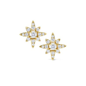 Diamond Starburst Stud Earrings Set in 14 Kt. Gold