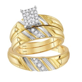 14kt Yellow Gold His & Hers Round Diamond Cluster Matching Bridal Wedding Ring Band Set 1/4 Cttw