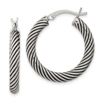 Sterling Silver Antiqued 3.25x25mm Twisted Hoop Earrings
