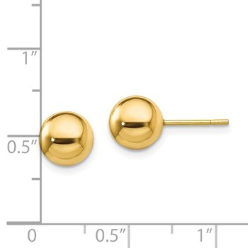 Sterling Silver Gold-Tone Polished 8mm Ball Post Earrings