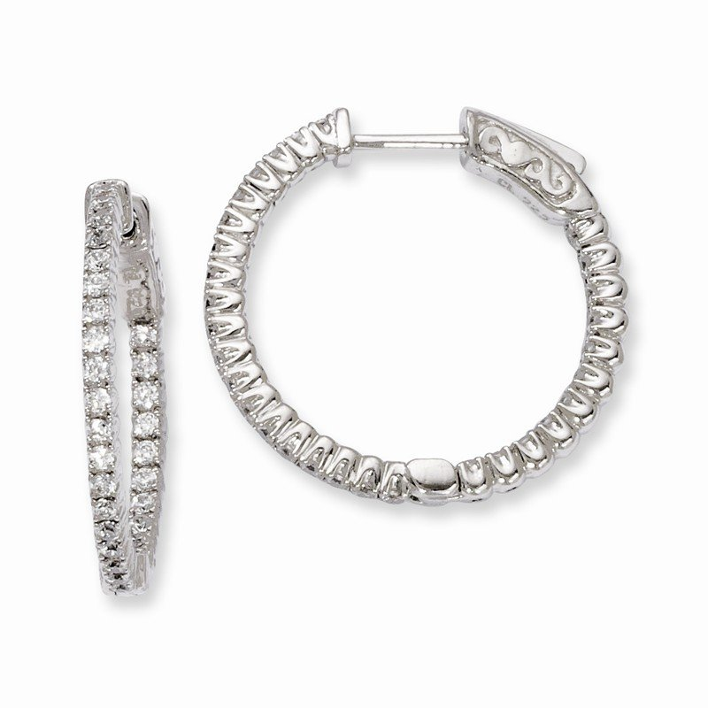 Arizona Diamond Center Collection Sterling Silver Rhodium-plated In and Out CZ Hinged Hoop Earrings