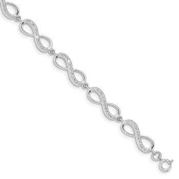 Sterling Silver Rhodium Plated CZ Infinity Bracelet