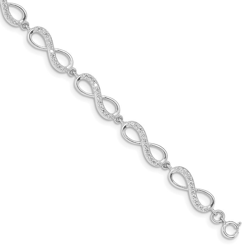 Quality Gold Sterling Silver Rhodium Plated CZ Infinity Bracelet