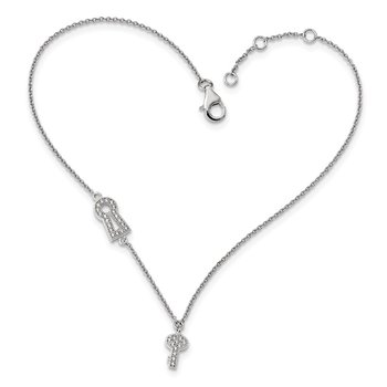 Sterling Silver Brilliant Embers Rhodium-pl CZ Lock Key with 1in ext Anklet