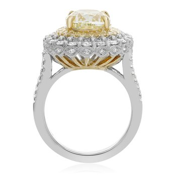 Platinum Five Carat Yellow Diamond Ring