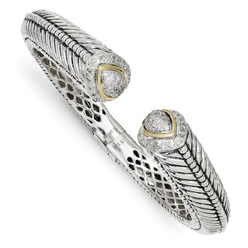 Sterling Silver w/14k 1/2ct. Diamond Hinged Cuff Bracelet