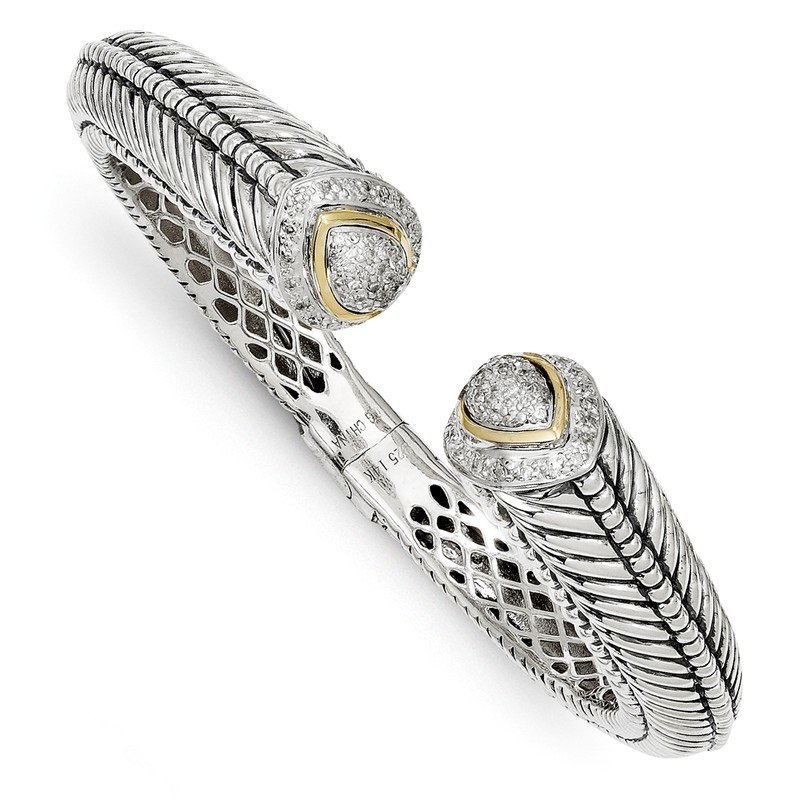 Shey Couture Sterling Silver w/14k 1/2ct. Diamond Hinged Cuff Bracelet
