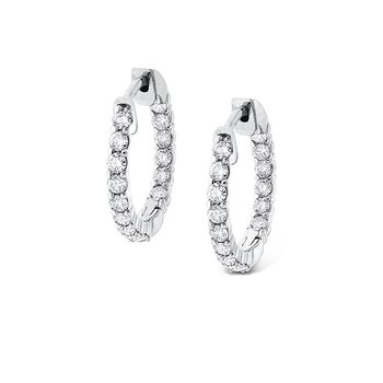 Diamond Inside Outside Hoop Earrings in 14k White Gold with 30 Diamonds weighing .90ct tw