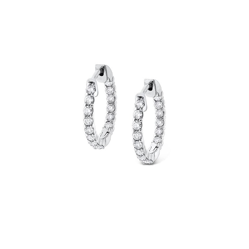 KC Designs Diamond Inside Outside Hoop Earrings in 14k White Gold with 30 Diamonds weighing .90ct tw
