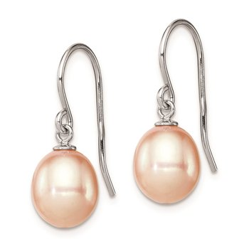 Sterling Silver Rhodium-plated 8-9mm Pink FW Cultured Pearl Drop Earrings