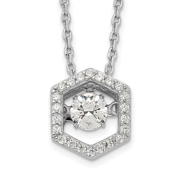 Sterling Silver Rhod-plated Hexagon Moving CZ w/2in ext Necklace