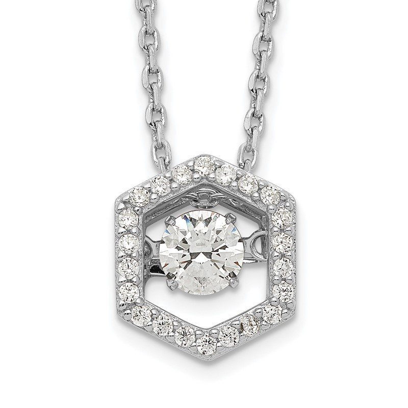 Quality Gold Sterling Silver Rhod-plated Hexagon Moving CZ w/2in ext Necklace