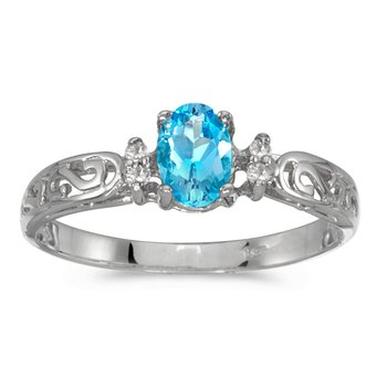 14k White Gold Oval Blue Topaz And Diamond Filagree Ring