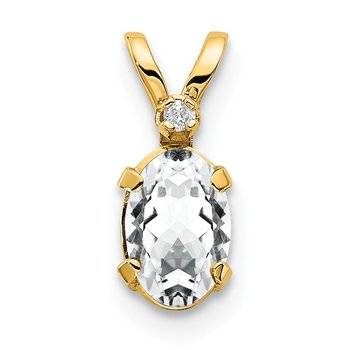 14k Diamond & White Topaz Birthstone Pendant