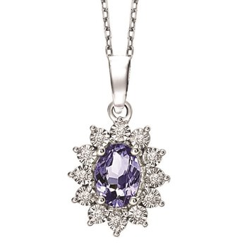 Silver Diamond & Tanzanite Pendant