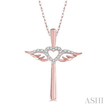 diamond angel wings heart shape & cross pendant