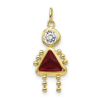 10k January Girl Birthstone Charm