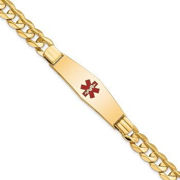 14K Medical Soft Diamond Shape Red Enamel Curb ID Bracelet