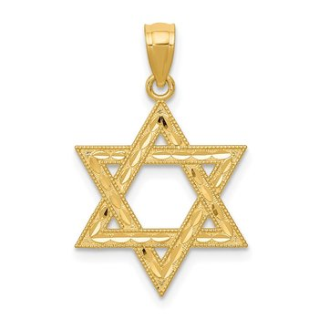 14k Diamond-cut Polished Star of David Pendant