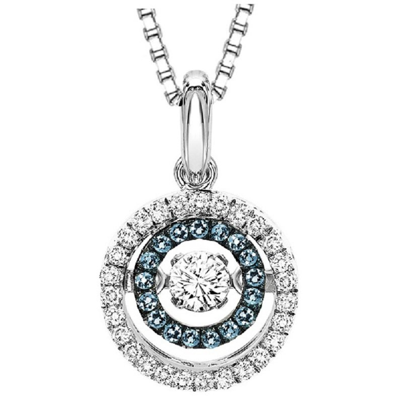Rhythm of Love Silver Blue & White Diamond Rhythm of Love Pendant