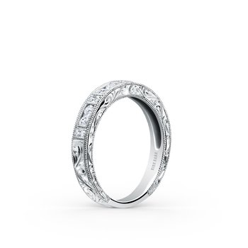 Engraved Milgrain Vintage Diamond Wedding Band