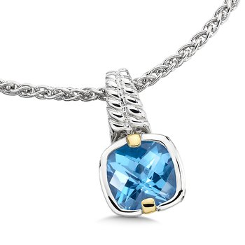 Sterling Silver, 18K Gold and Blue Topaz Pendant