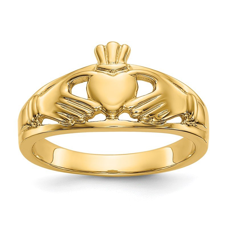 Quality Gold 14k Polished Ladies Claddagh Ring