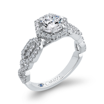 18K White Gold Round Diamond Hexagon Shape Halo Engagement Ring (Semi-Mount)