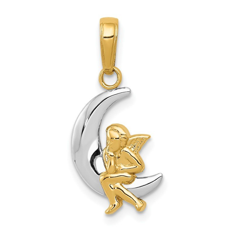 Quality Gold 14k and Rhodium Polished Moon w/ Angel Pendant