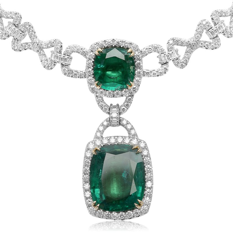 Roman & Jules Ornate Emerald & Diamond Necklace