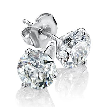 Three Prong Diamond Studs in 14k White Gold Screw-back posts (3/4ct. tw.)