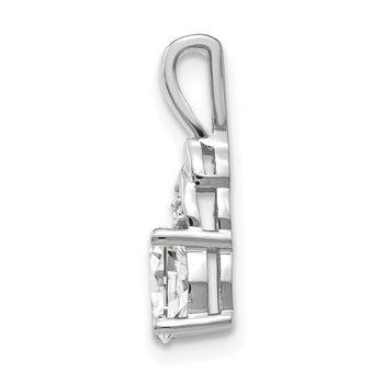 14k White Gold White Topaz and Diamond Pendant