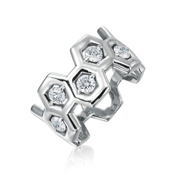 "Honeybee ""B"" Honeycomb Ring R885HG"