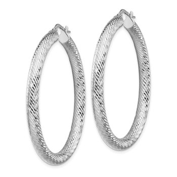 14k 4x35mm White Gold Diamond-cut Round Hoop Earrings