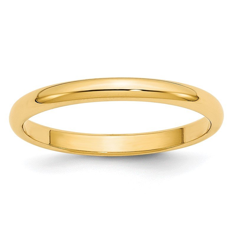Quality Gold 14KY 2.5mm Half Round Band Size 10