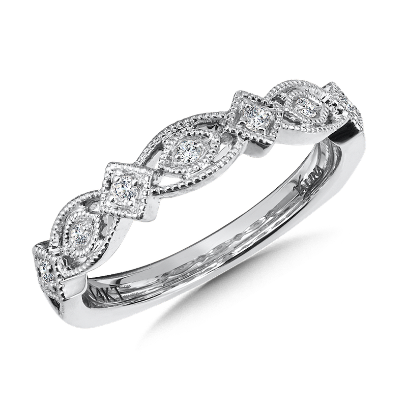 Valina Stackable Wedding Band in 14K White Gold (.10 ct. tw.)