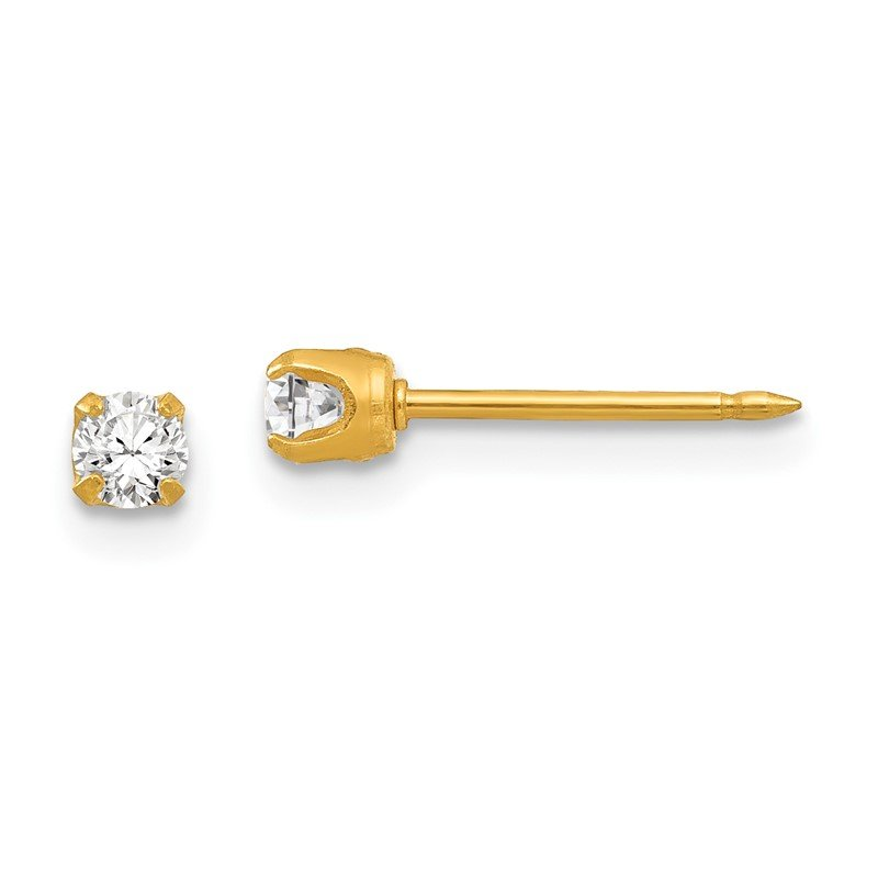 Quality Gold Inverness 14k 3mm April Crystal Birthstone Post Earrings
