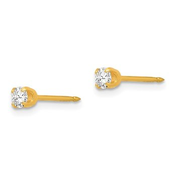 Inverness 14k 3mm April Crystal Birthstone Post Earrings