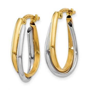 14k Two-tone Double Hoop Earring