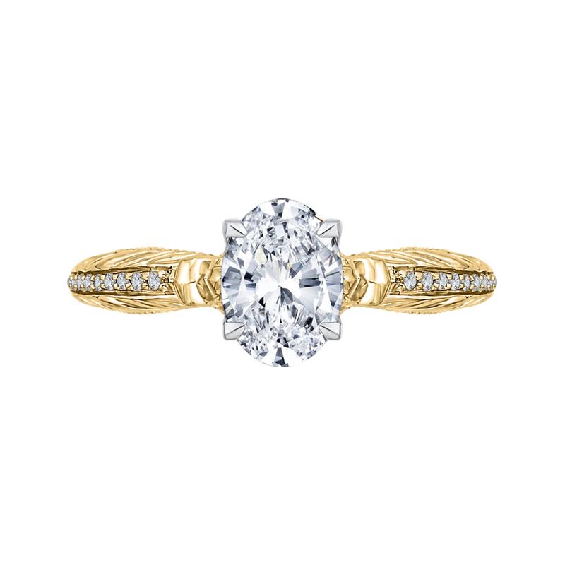 18K Two-Tone Gold Oval Diamond Engagement Ring (Semi-Mount)