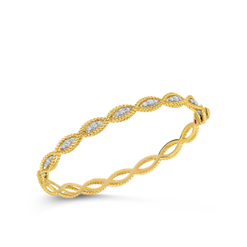 18KT GOLD 1 ROW BANGLE WITH DIAMONDS