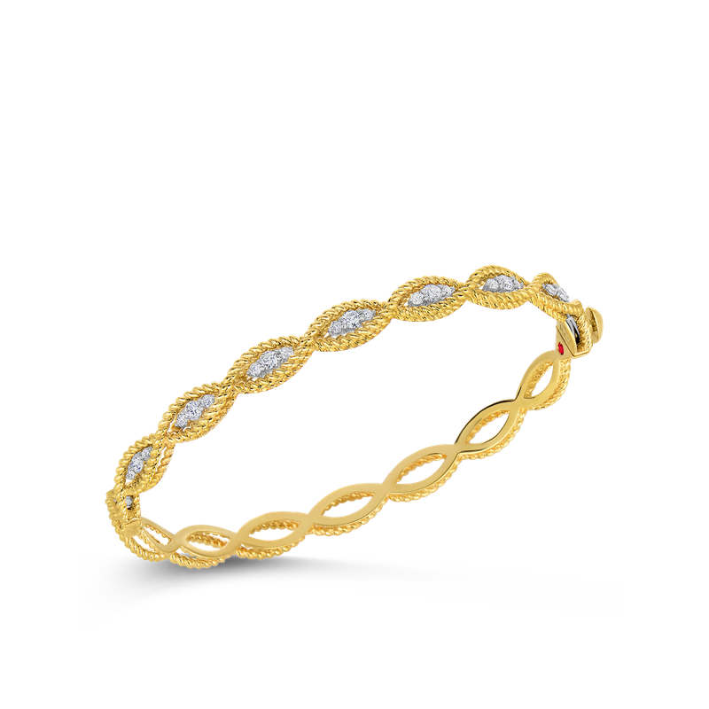 Roberto Coin 18Kt Gold 1 Row Bangle With Diamonds