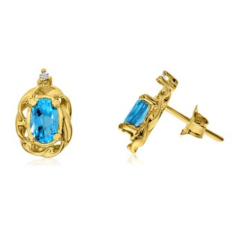14k Yellow Gold Blue Topaz Scroll Diamond Earrings