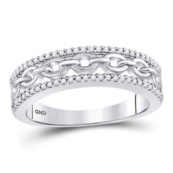 10kt White Gold Womens Round Diamond Chain Link Fashion Band Ring 1/6 Cttw