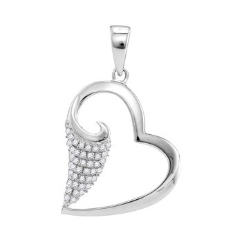 10kt White Gold Womens Round Diamond Scroll Heart Love Pendant 1/5 Cttw