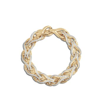 Asli Classic Chain 13MM Link Bracelet, 18K Gold, Diamonds