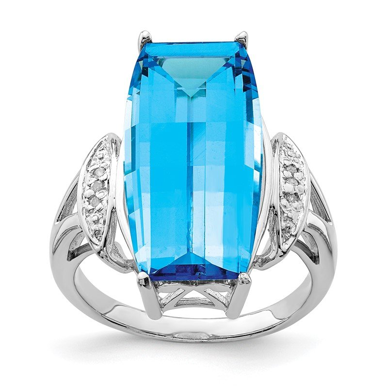 Quality Gold Sterling Silver Rhodium Blue Topaz & Diam. Ring