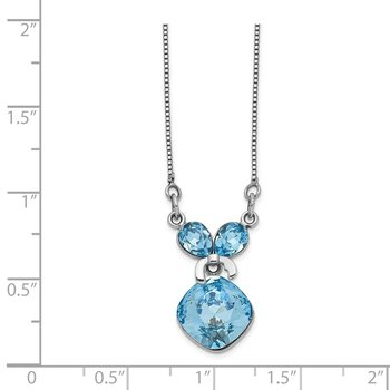 Sterling Silver Rhodium-plated Blue Crystal Bow w/Dangle w/2in ext Necklace
