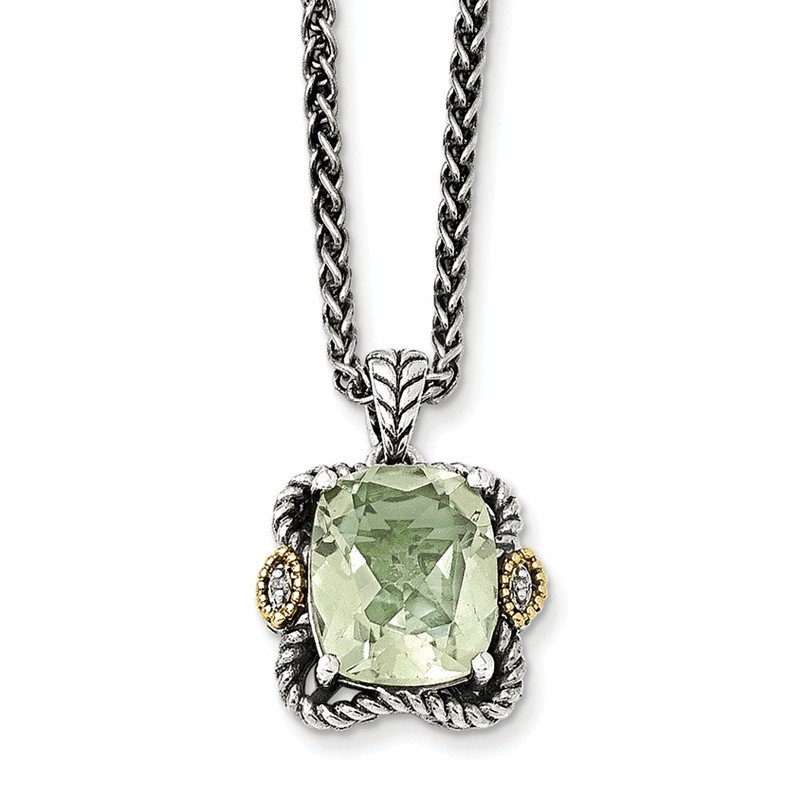 Shey Couture Sterling Silver w/14k Antiqued Green Quartz and Diamond Necklace