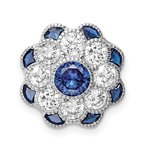 Quality Gold Sterling Silver Rh-plated CZ/Synthetic Blue Spinel Flower Chain Slide